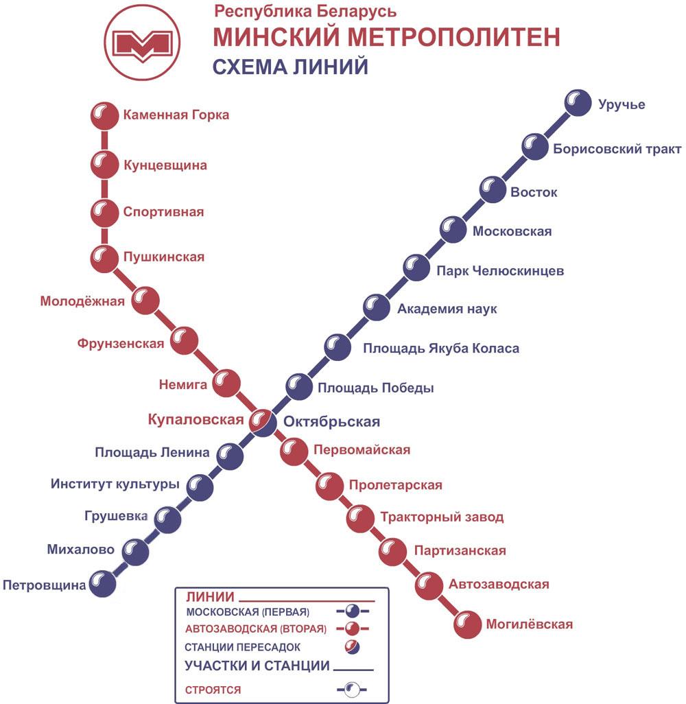 Схема расписания метро